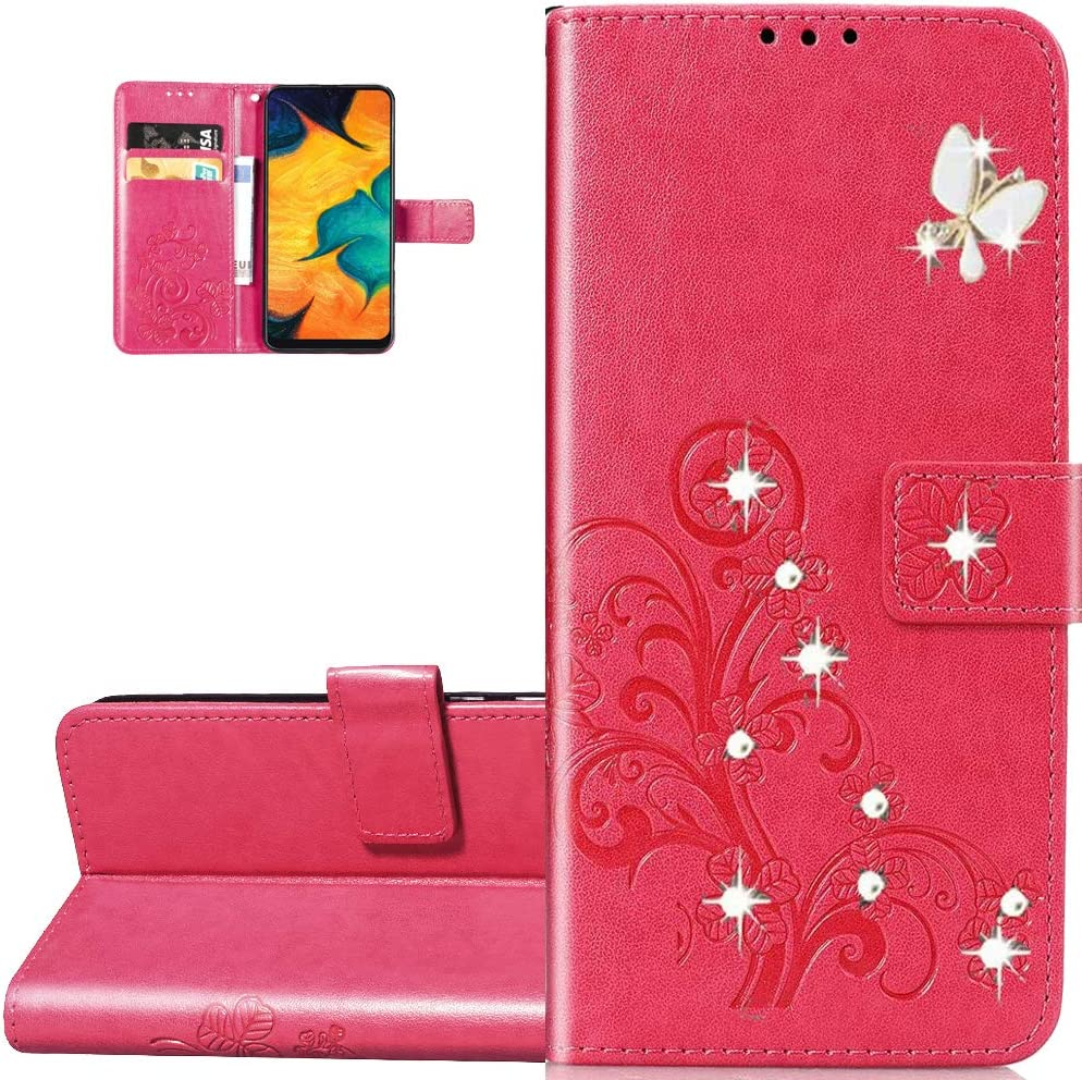 LEMAXELERS Galaxy Z Fold 2 5G Case Bling Diamond Clover Wallet Case with Card Slots Magnetic Flip Stand Premium PU Leather Shockproof Cover for Samsung Galaxy Z Fold 2 5G Diamond Clover Rose SD