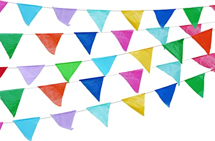 Colorful 115 ft long 70 Carnival Flag Triangle pennant banner garland. 5 Pack,Plastic