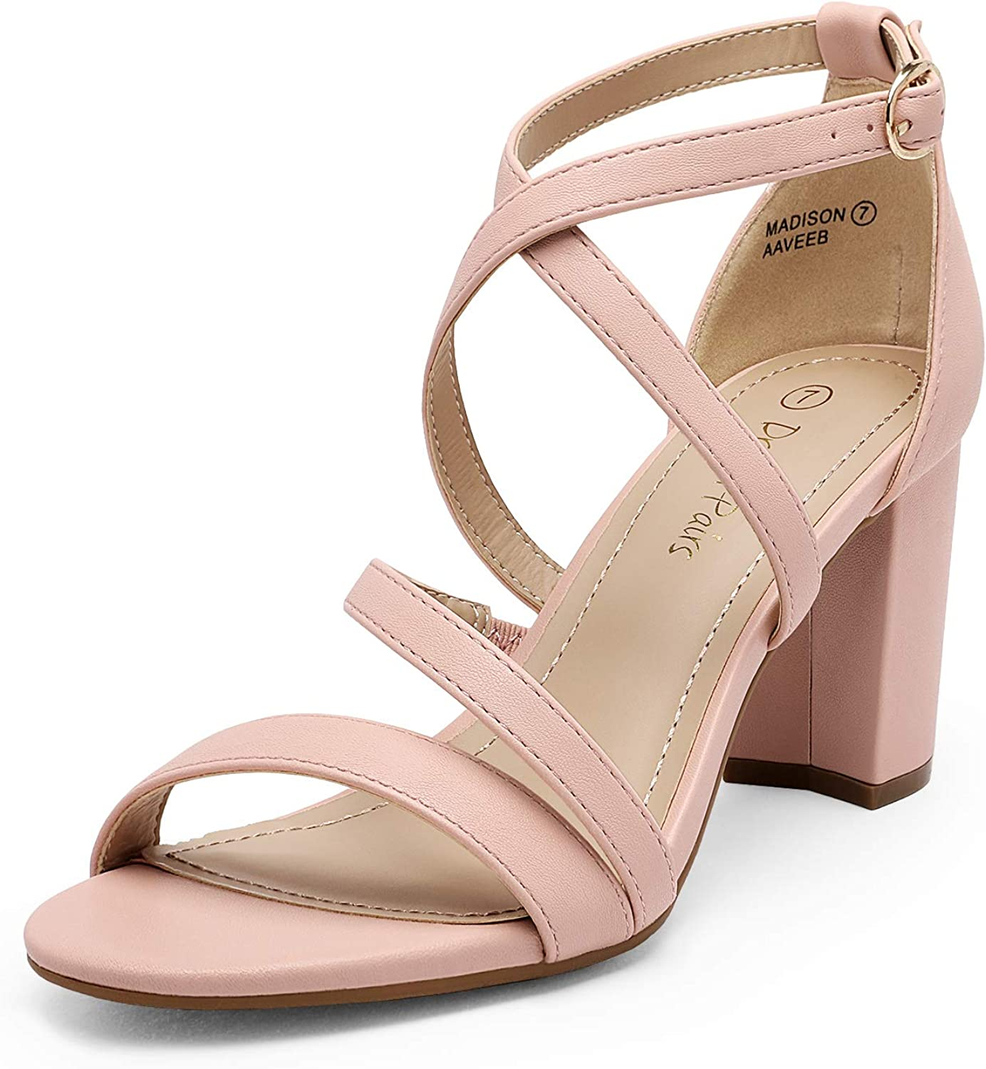 DREAM Large discharge sale PAIRS Women's Large-scale sale Ankle Strap Dress Sanda Low Pump Chunky Heel