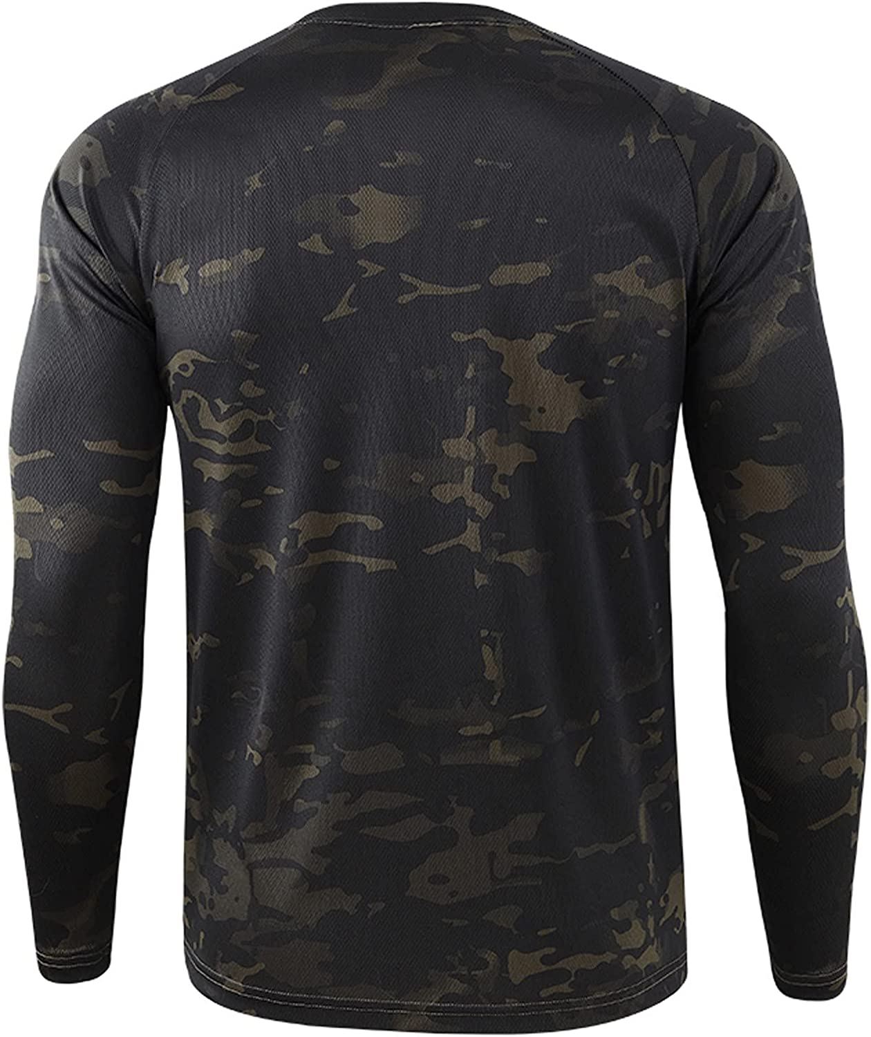Mens Camouflage T-Shirts Crew Neck Tees Long Sleeve Vintage Camo Athletic Stretch Lightweight Outdoor Field Top Blouse
