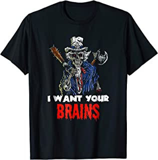Patriotic Lincoln Zombie Wants Your Brains Halloween T-Shirt