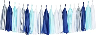 Tissue Paper Tassel DIY Party Garland Decor for All Events & Occasions - 20 Tassels Per Package (Blue-Navy-White-Silver)