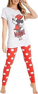 Disney Womens Pyjamas Cotton Minnie Mouse Ladies Pyjamas Lounge Wear Sets S-XL