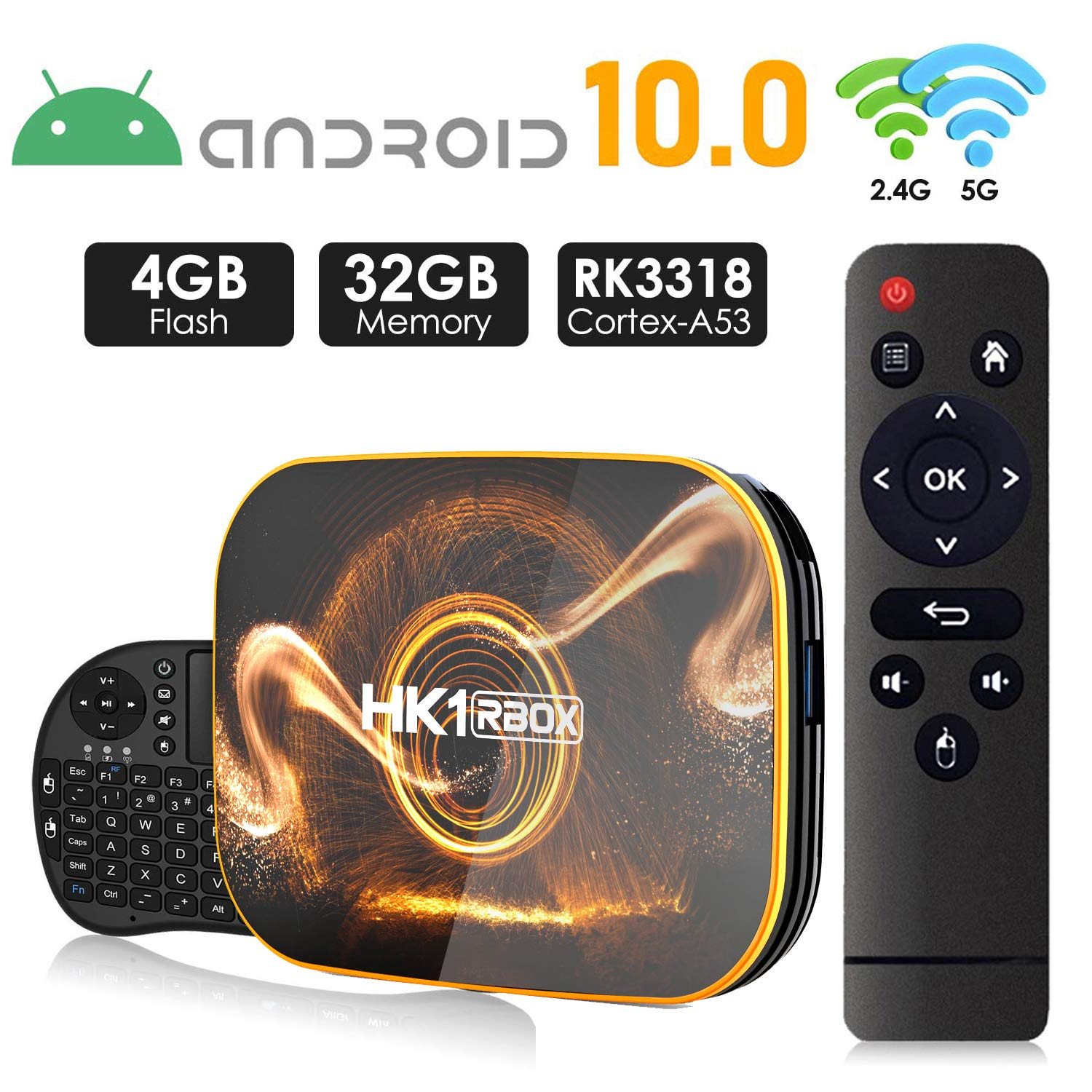 Android 10.0 TV Box 【4GB RAM 32GB ROM】 HK1 Ultra HD 4K Smart TV Box RK3318