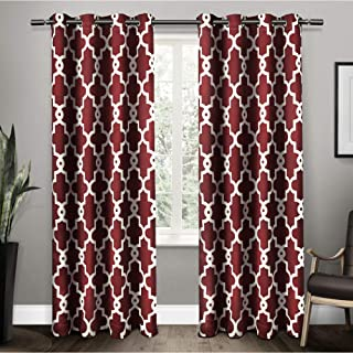 Exclusive Home Curtains Ironwork Sateen Woven Blackout Window Curtain Panel Pair with Grommet Top, 52x84, Burgundy, 2 Piece