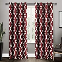Exclusive Home Curtains Ironwork Sateen Woven Blackout Window Curtain Panel Pair with Grommet Top, 52x96, Burgundy, 2 Piece