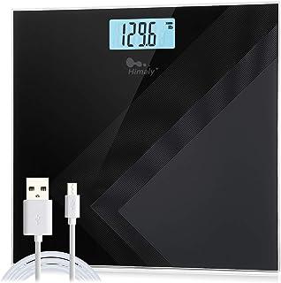 Himaly Carga USB Báscula de baño Antideslizante, Digital de Alta Medición Precisa 180kg / 400lbs, Pantalla LCD digital de gran área