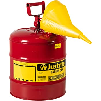 """Justrite 7150110 5 Gallon, 11.75"""" OD x 16.875"""" H Galvanized Steel Type I Red Safety Can with Funnel"""