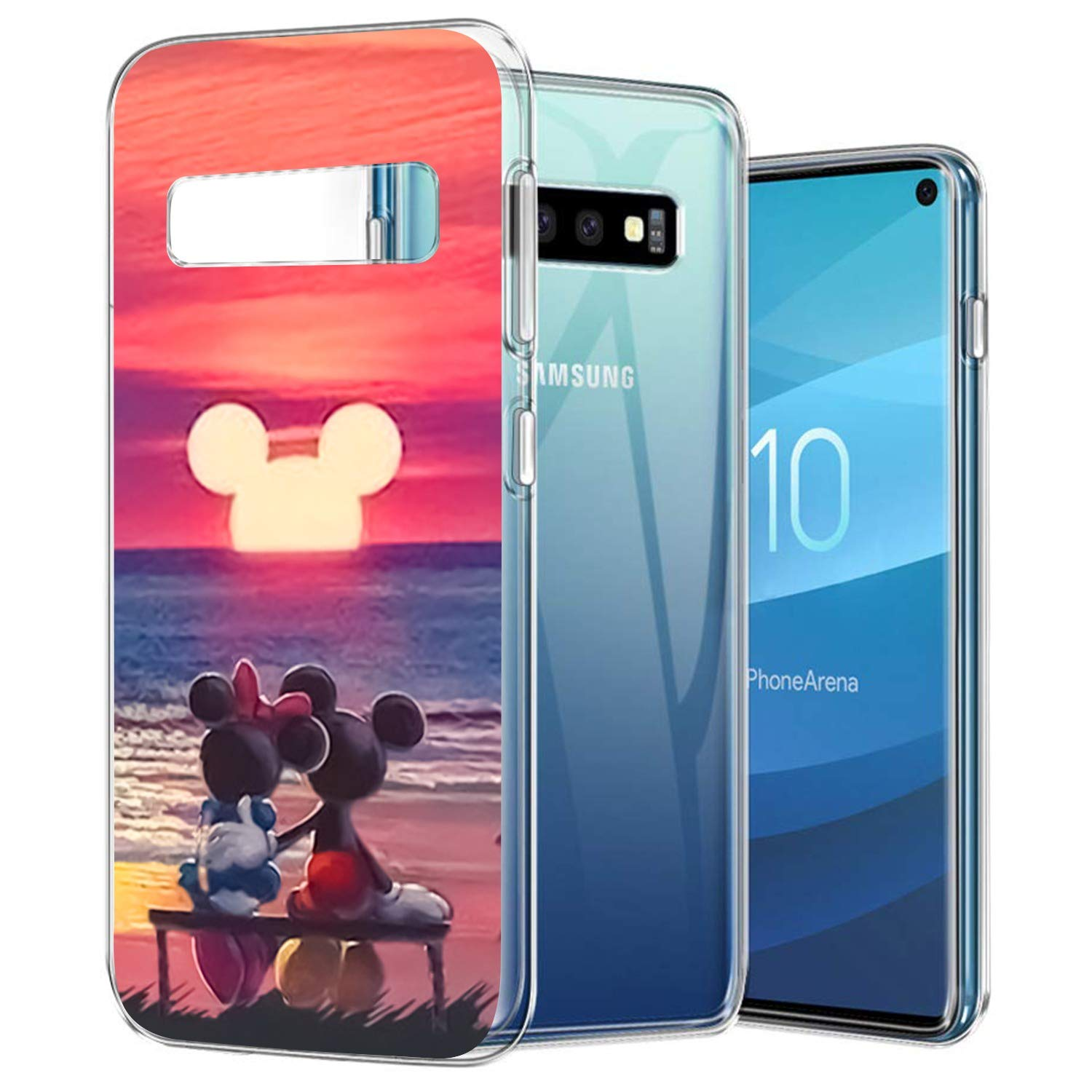DISNEY COLLECTION for Samsung Galaxy S10 Case Clear Mickey Mouse Sunset Design Anti-Scratch Shock Absorption Cover with PC Bumper Case for Samsung Galaxy S10 Crystal Clear