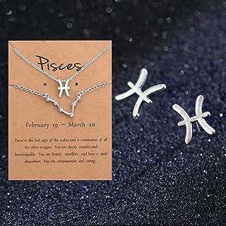 JEVI Zodiac Necklace Bracelets Studs Earring 3Pcs Jewelry Sets for Women 12 Constellation CZ Astrology Horoscope Birthday ...