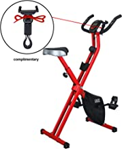 LAZZO Indoor Folding Magnetic Slim Exercise Bike | Bundle Includes Larger Soft seat,Cell Phone Holder,Remote Control Placement Holder,8-Levels Adjustable Resistance,Perfect for Home Use| Bear 250 lbs