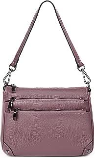 Leather Purse Women's Triple Zipper Organizer Small Purse Crossbody Shoulder Bag Purple by YALUXE
