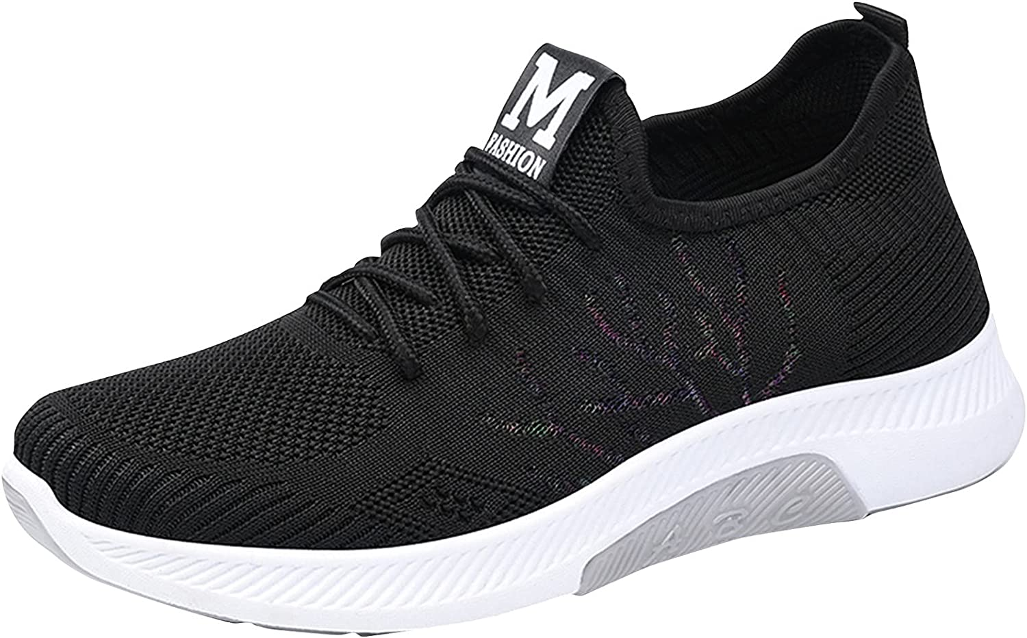 DKBL Women's Sneaker Mesh Leisure Sneakers Breathable Running Shoes Cushioning Non-Slip Fitness Sports Shoes Mens Lightweight Flat Walking Shoes Street Running Shoes Black