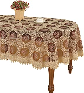 Simhomsen Vintage Burgundy Lace Tablecloth Embroidered Oval 54 × 72 inch