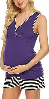 Ekouaer Womens Maternity Nursing Pajamas Shorts Set...