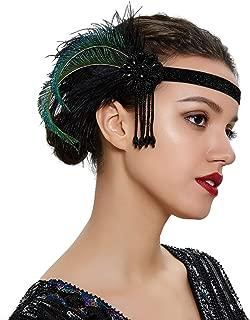 1920s Flapper Headband Peacock Ostrich Feather Headband Roaring 20s Gatsby Headpiece Hair Accessories
