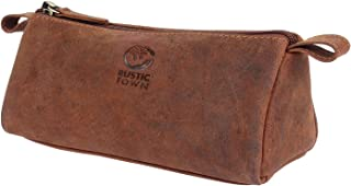 Leather Pencil Case - Zippered Pen Pouch for School, Work & Office (Brown)