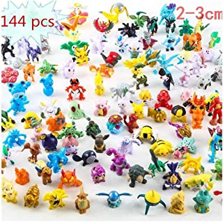 BWENY 144 Pcs Pet Anime Doll , Mini Action Figures 2-3 cm Kid's Gift Monster Toys Set for Pet Toy Play Game Player, Kid's Great Gifts Children Game (144 pcs)