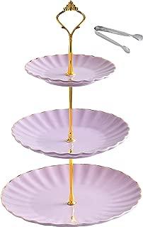 Jusalpha 3-tier Ceramic Cake Stand-cupcake Stand- Dessert Stand-tea Party Serving Platter TW3RG (Purple)