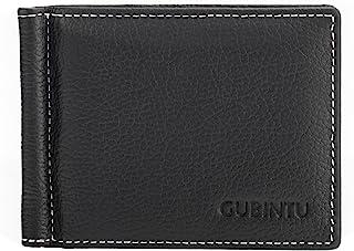 Otto Angelino Genuine Cowhide Leather Men Ultra Thin Wallet, ID, Debit and Business Card - Dark Brown (Black)