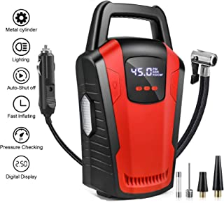Voroly Portable Car Air Compressor Tyre Inflator 12V DC Car Pump with Auto Cut Off Digital Pressure Gauge Bright Emergency...