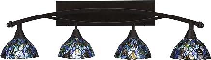 Toltec Lighting Bow 4ライト バスバー ブルー モザイク ティファニーガラス