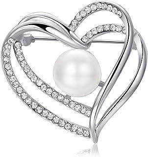 Yoursfs - Spilla a forma di cuore con perla solitaria, placcata in oro bianco, con diamanti artificiali e perle, regalo di...