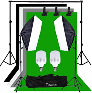 Abeststudio 500W Continuous Lighting 50 x 70cm Softbox kit and Black chromakey Green White Gray Backdrops Soft box Equipme...