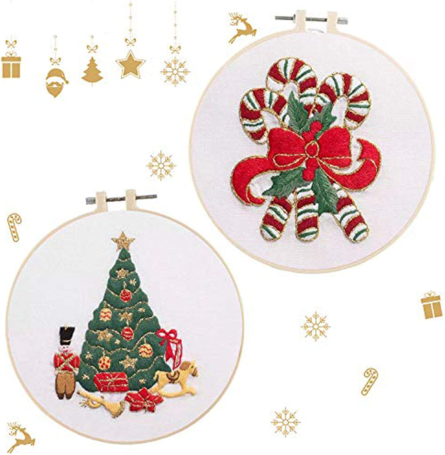 2 Sets Christmas Embroidery Cross P Now free shipping Starter Stitch Daily bargain sale Kit