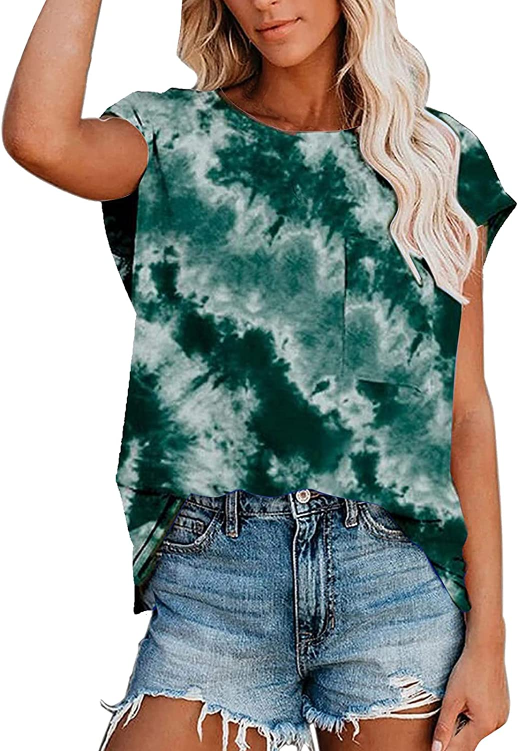 FABIURT Womens Short Sleeve Tops, Women's Fashion Gradient Printed Tee Loose Fit T Shirts Casual Summer Tunic Top Blouse