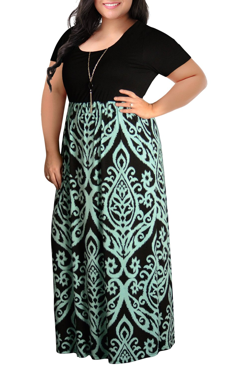 Plus Size Dresses - Women's V-Neckline Stretchy Casual Midi Plus Size Bridesmaid Dress