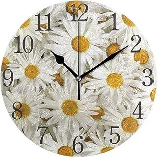SUABO Wall Clock Arabic Numerals Design Cute Daisy Round Wall Clock for Living Room Bathroom Home Decorative