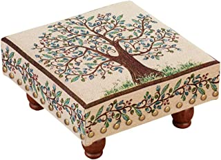 Collections Etc Traditional-Style Tree of Life Footstool with Classic Brass Studs and Vine Design Border