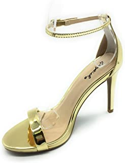 Qupid Women's Grammy-01 Dress Sandal Ankle Strap High Heel Open Toe Single Band Bridal Party Wedding Shoes Stiletto Pump G...