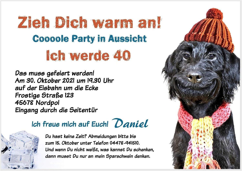 Unser-Festtag Hund mit Mütze und und und Schal Geburtstagseinladung für jedes Alter - eigener Text wird eingedruckt - 70 Karten B07L2ZB2JD | Verkaufspreis  ce030f