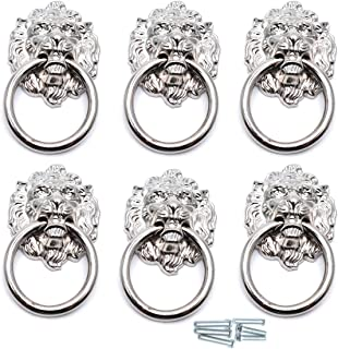 Sydien 67x40mm Lion Head Ring Pulls/Handles for Dresser, Drawer, Cabinet, Door,Cupboard, Closet 6 Pcs (Silver Tone)