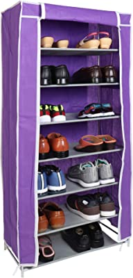 WowObjects 7 Layers Portable Multi-Utility DIY Foldable Storage Shoes Rack for Home (Purple)