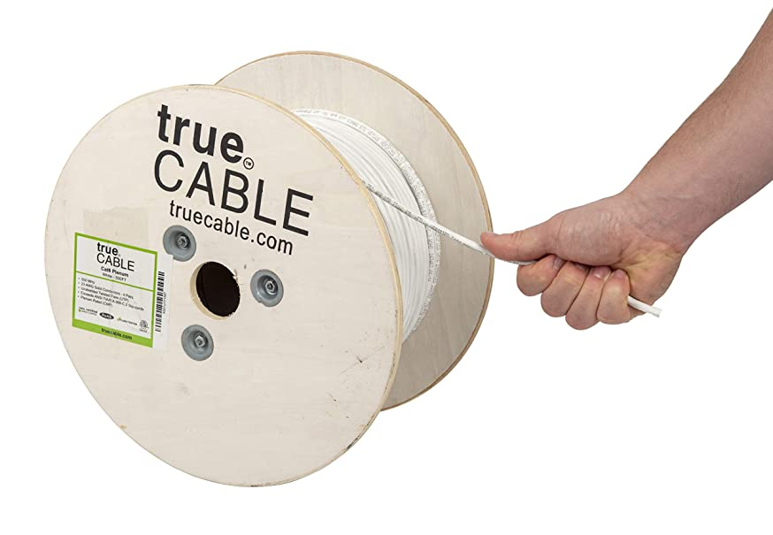 Cat6 Plenum (CMP), 500ft, White, 23AWG 4 Pair Solid Bare Copper, 550MHz, ETL Listed, Unshielded Twisted Pair (UTP), Bulk Ethernet Cable, trueCABLE