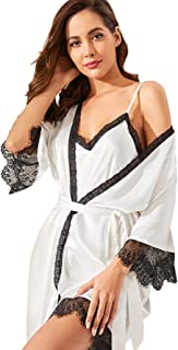 SheIn Women's Sleepwear Two Piece Lace Satin Cami V Neck Lingerie Dress with Belted Robe