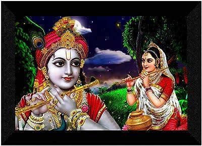 SAF Radha Krishna UV Textured Digital Reprint Home Decorative Gift Item Framed Painting 14 Inch X 20 Inch SANFM30944