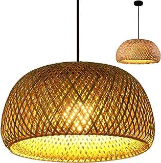 Lámpara Colgante Tejida De Bambú Vintage Lámpara Colgante Tejida A Mano Lámpara De Techo Iluminación De Pasillo Rural Lámpara Colgante E27 Ajustable En Altura Luz Decorativa Bambú Natural,30cm