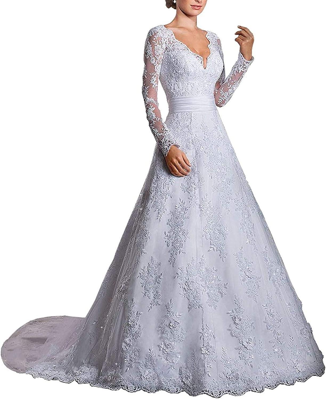 Vintage V Neck Wedding Dresses Lace Bridal Dresses Long Sleeves Wedding Bridal Gowns