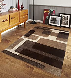 Renzo Collection Easy Clean Stain and Fade Resistant Brown Area Rug for Living Room Bedroom Kitchen, Modern Geometric Lines Space Design with Jute Backing (Size 8' x 10' Feet)