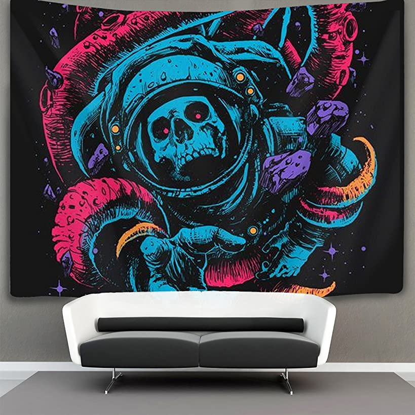 HOMESTORES cool colorful astronaut skull Wall Tapestry Hippie Art Tapestry Wall Hanging Home Decor Extra large tablecloths 60x70 inches For Bedroom Living Room Dorm Room