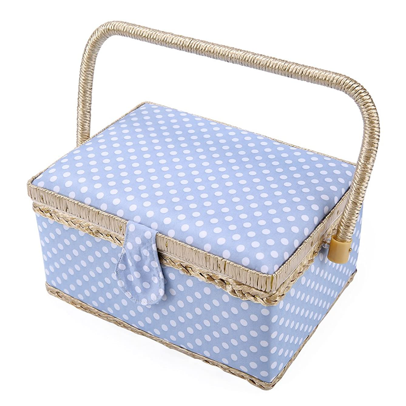 SAXTX Classic Polka Dot Medium Sewing Basket with Tray - Include 31 Pcs Sewing Kit Accessories | Blue Wooden Storage Organizer Sewing Boxes for Girls | 9.6