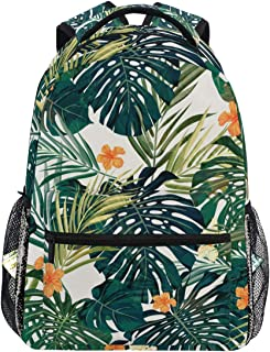 FANTAZIO Tropical Plant Leaves Slim Backpack Zipper Backpack Travel Bag for Kids