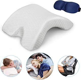 Memory Foam Pillow Couple Pillows. Ergonomic - Work Lumbar Pillow and Rest Neck Pillow. Can be Used for Side Sleepers, Including Free Pillowcases and Eye Masks