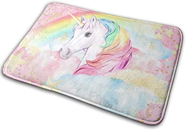 NGFF Pink Pastel Rainbow Unicorn Stars Bath Mat Non Slip Absorbent Super Cozy Velvet Bathroom Rug Carpet Bath Rugs