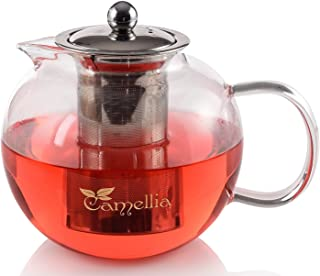 Camellia Teapot with Removable Stainless Steel Infuser, Borosilicate Glass, Loose Leaf Tea Kettle Stovetop Safe - Holds 5 Cups 40 Ounce
