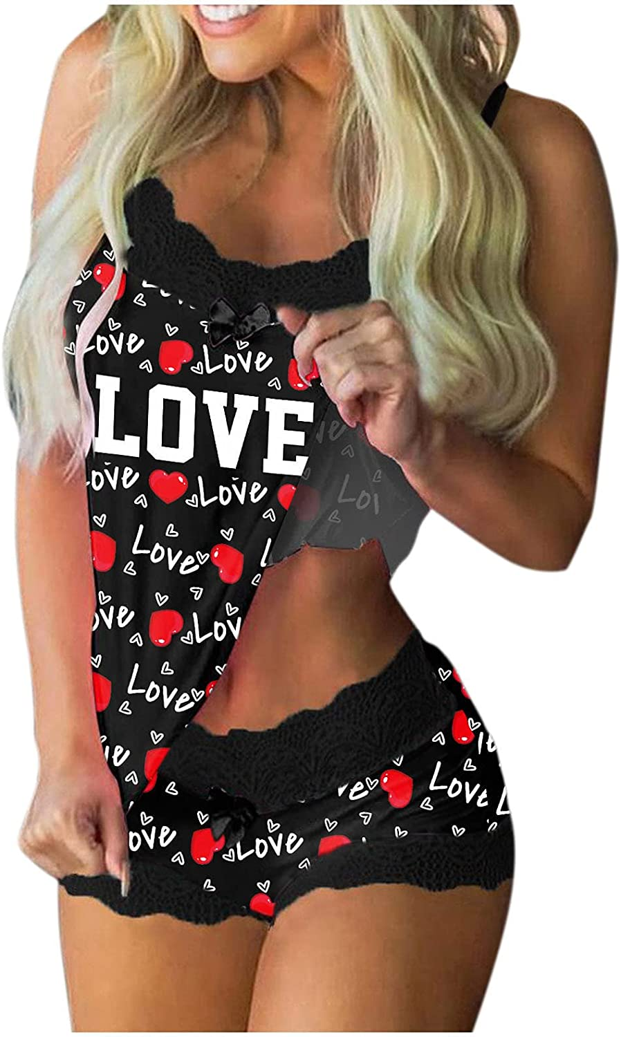 AODONG Sleepwear for Women Halloween Printed Lingerie Set Babydolls Sexy Pajamas Set Lace Chemises Outfits